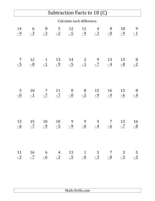 The 50 Vertical Subtraction Facts with Minuends from 0 to 18 (C) Math Worksheet