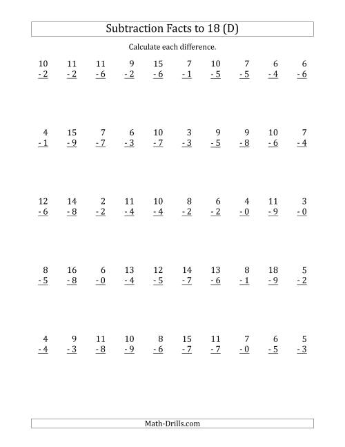 The 50 Vertical Subtraction Facts with Minuends from 0 to 18 (D) Math Worksheet