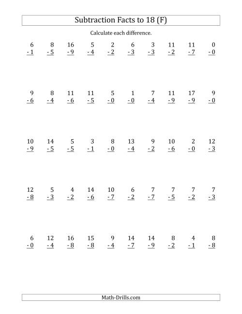 The 50 Vertical Subtraction Facts with Minuends from 0 to 18 (F) Math Worksheet