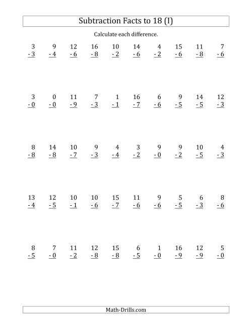 The 50 Vertical Subtraction Facts with Minuends from 0 to 18 (I) Math Worksheet