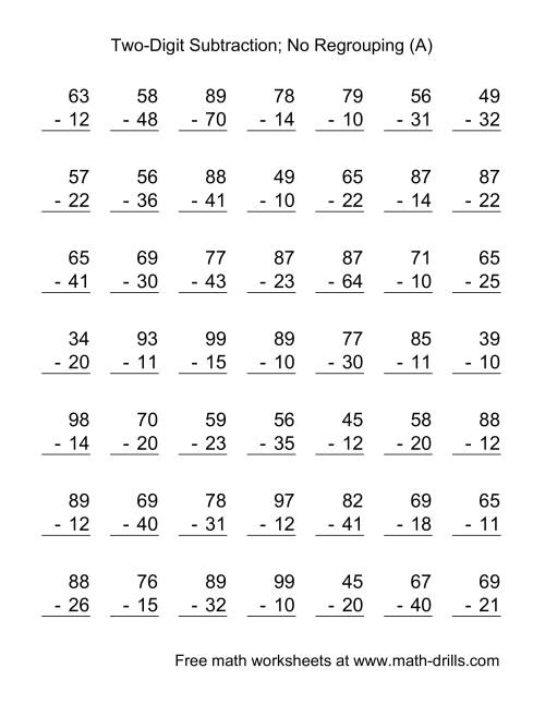 Two-Digit Subtraction with No Regrouping -- 49 Questions (A)