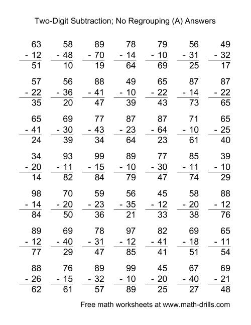 The Two-Digit Subtraction with No Regrouping -- 49 Questions (A) Math Worksheet Page 2