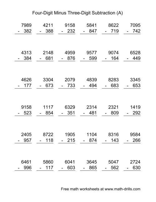 worksheet Four Digit Subtraction four digit minus three subtraction 36 questions a