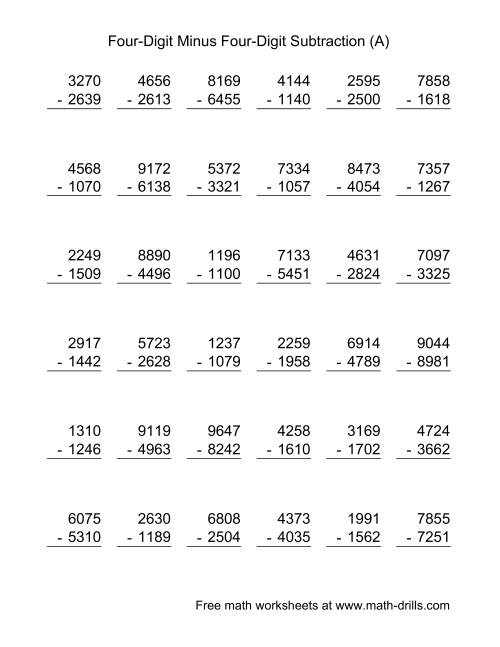 worksheet Four Digit Subtraction four digit minus subtraction 36 questions a