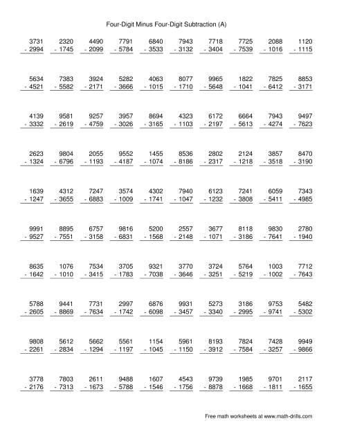 worksheet Four Digit Subtraction four digit minus subtraction 100 questions a