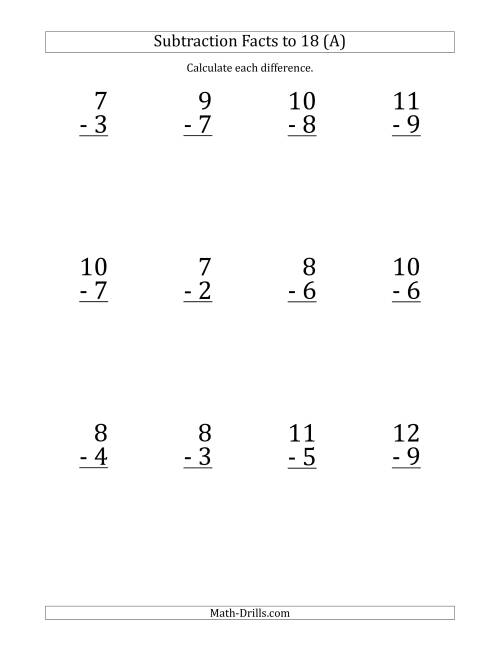 The 12 Vertical Subtraction Facts with Minuends from 2 to 18 (A) Math Worksheet