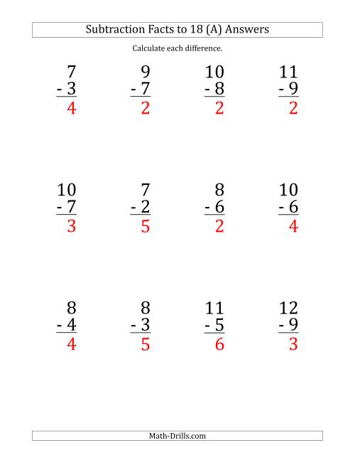 The 12 Vertical Subtraction Facts with Minuends from 2 to 18 (A) Math Worksheet Page 2