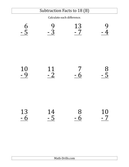 The 12 Vertical Subtraction Facts with Minuends from 2 to 18 (B) Math Worksheet