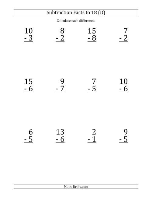 The 12 Vertical Subtraction Facts with Minuends from 2 to 18 (D) Math Worksheet