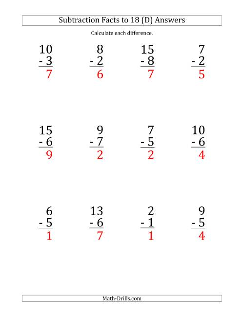 The 12 Vertical Subtraction Facts with Minuends from 2 to 18 (D) Math Worksheet Page 2