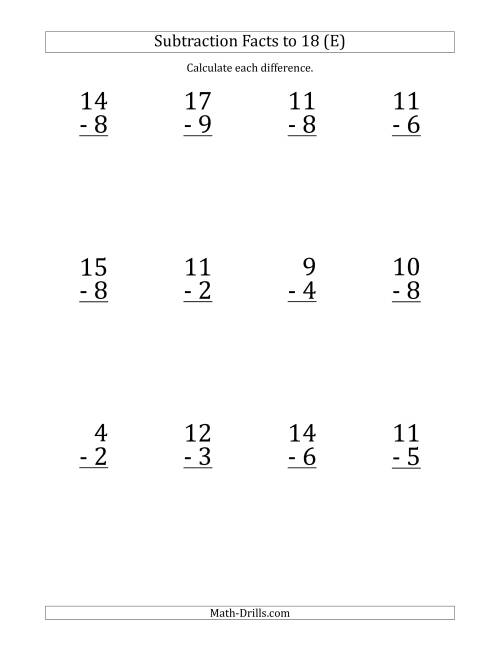 The 12 Vertical Subtraction Facts with Minuends from 2 to 18 (E) Math Worksheet