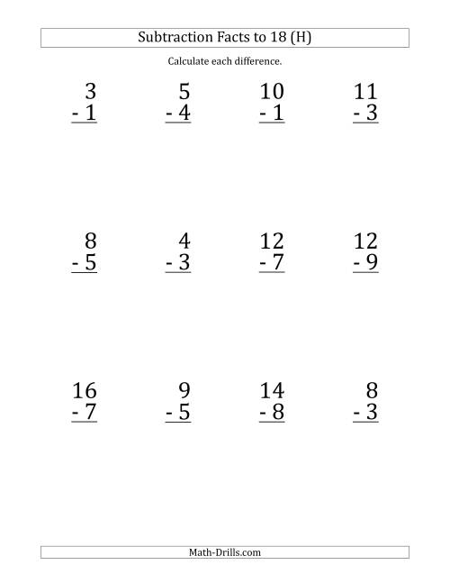 The 12 Vertical Subtraction Facts with Minuends from 2 to 18 (H) Math Worksheet