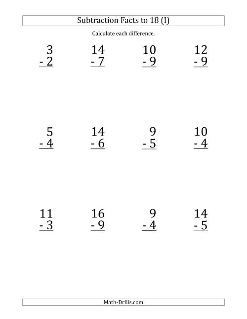 The 12 Vertical Subtraction Facts with Minuends from 2 to 18 (I) Math Worksheet