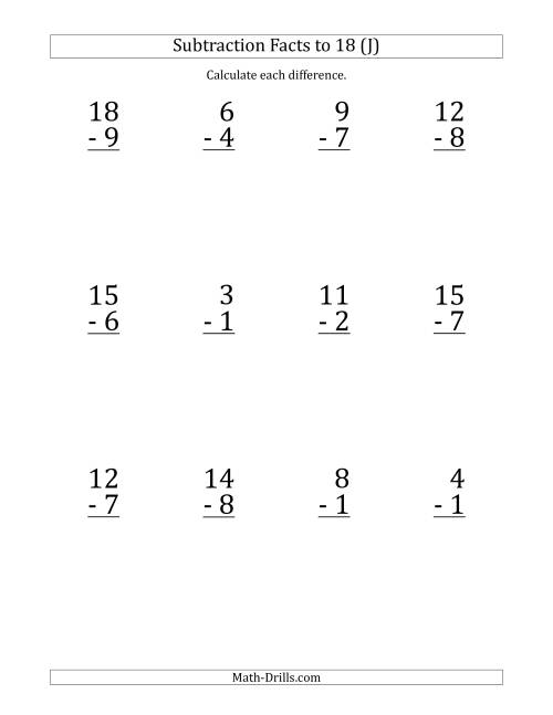 The 12 Vertical Subtraction Facts with Minuends from 2 to 18 (J) Math Worksheet