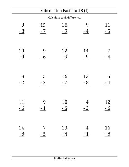 The 25 Vertical Subtraction Facts with Minuends from 2 to 18 (J) Math Worksheet