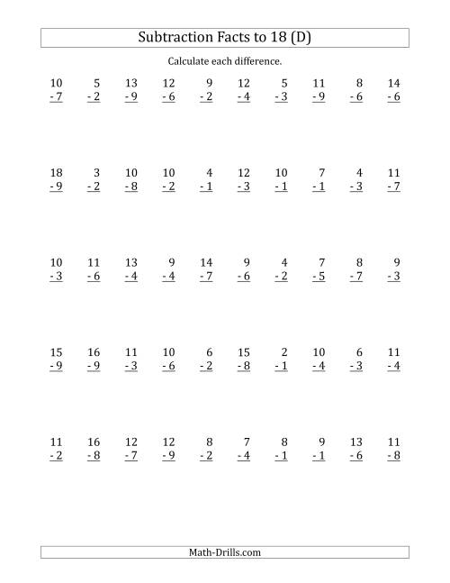 The 50 Vertical Subtraction Facts with Minuends from 2 to 18 (D) Math Worksheet