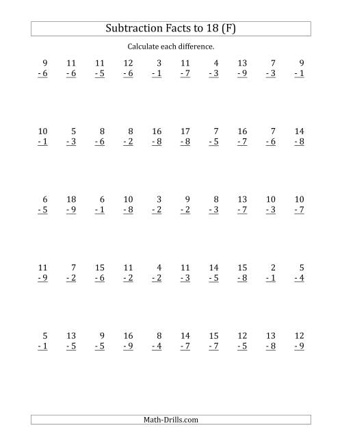 The 50 Vertical Subtraction Facts with Minuends from 2 to 18 (F) Math Worksheet