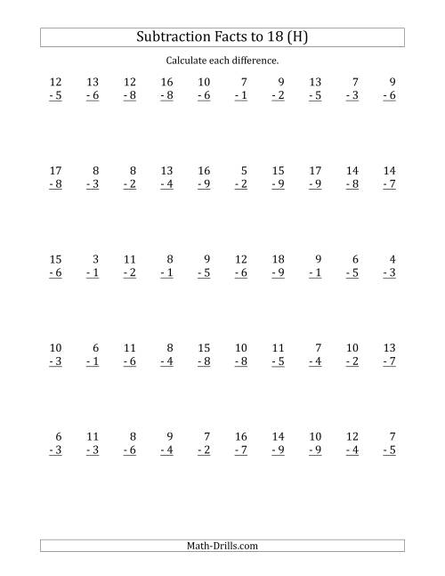 The 50 Vertical Subtraction Facts with Minuends from 2 to 18 (H) Math Worksheet
