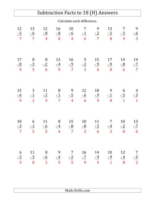 The 50 Vertical Subtraction Facts with Minuends from 2 to 18 (H) Math Worksheet Page 2