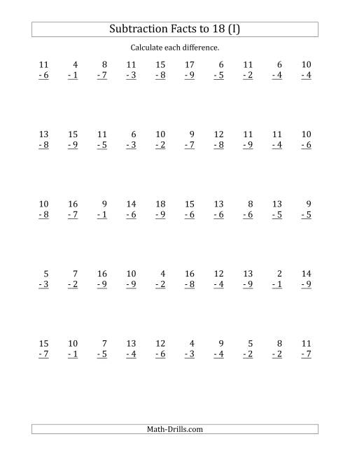 The 50 Vertical Subtraction Facts with Minuends from 2 to 18 (I) Math Worksheet