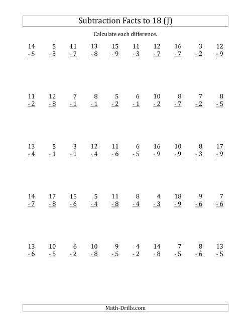 The 50 Vertical Subtraction Facts with Minuends from 2 to 18 (J) Math Worksheet