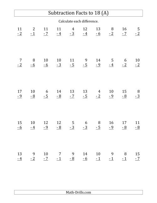 The 50 Vertical Subtraction Facts with Minuends from 2 to 18 (All) Math Worksheet