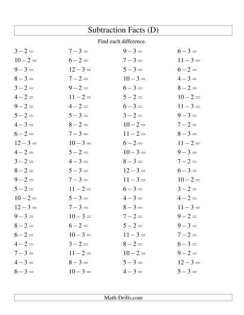 The Subtracting 2 and 3 (100 Horizontal Questions) (D) Math Worksheet