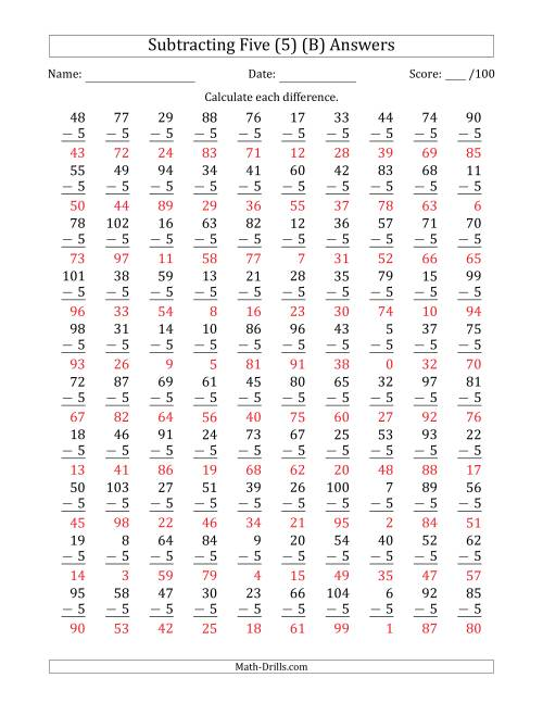 The Subtracting Five (5) with Differences 0 to 99 (100 Questions) (B) Math Worksheet Page 2