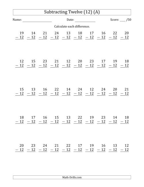 The Subtracting Twelve (12) with Differences 0 to 12 (50 Questions) (A) Math Worksheet