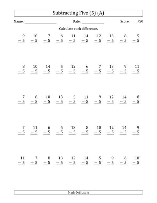 The Subtracting Five (5) with Differences 0 to 9 (50 Questions) (A) Math Worksheet