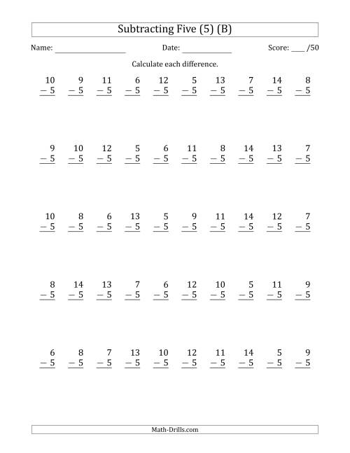 The Subtracting Five (5) with Differences 0 to 9 (50 Questions) (B) Math Worksheet