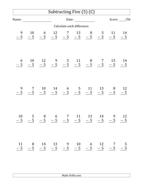 The Subtracting Five (5) with Differences 0 to 9 (50 Questions) (C) Math Worksheet