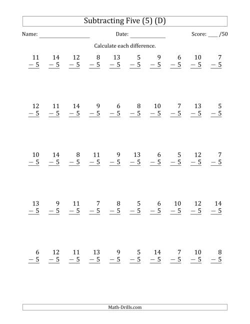The Subtracting Five (5) with Differences 0 to 9 (50 Questions) (D) Math Worksheet