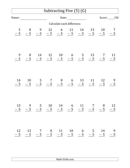 The Subtracting Five (5) with Differences 0 to 9 (50 Questions) (G) Math Worksheet