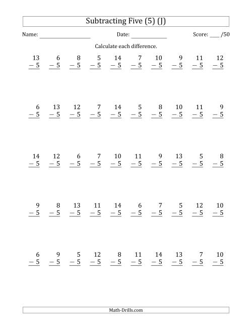 The Subtracting Five (5) with Differences 0 to 9 (50 Questions) (J) Math Worksheet