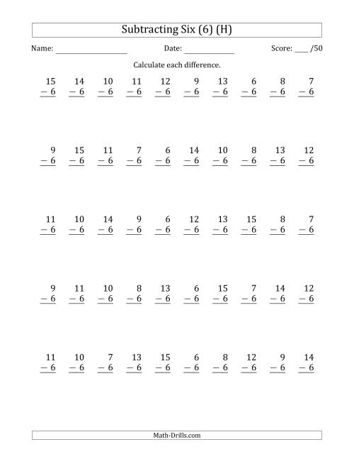 The Subtracting Six (6) with Differences 0 to 9 (50 Questions) (H) Math Worksheet