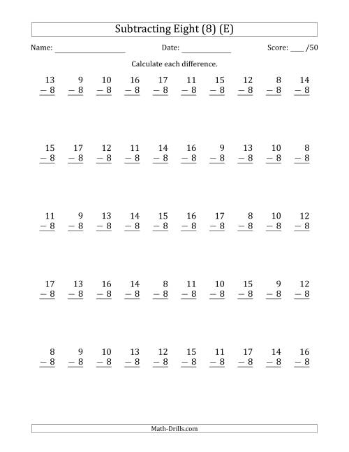 The Subtracting Eight (8) with Differences 0 to 9 (50 Questions) (E) Math Worksheet