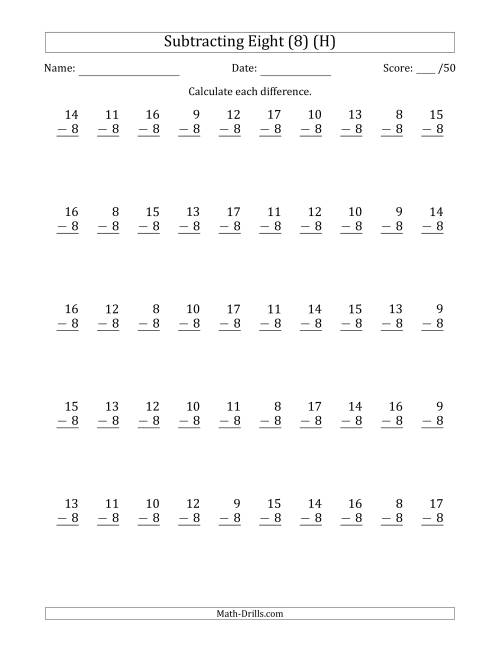 The Subtracting Eight (8) with Differences 0 to 9 (50 Questions) (H) Math Worksheet