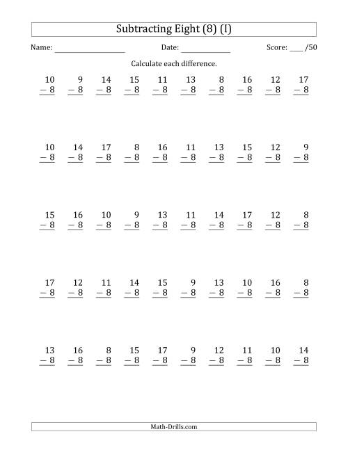 The Subtracting Eight (8) with Differences 0 to 9 (50 Questions) (I) Math Worksheet
