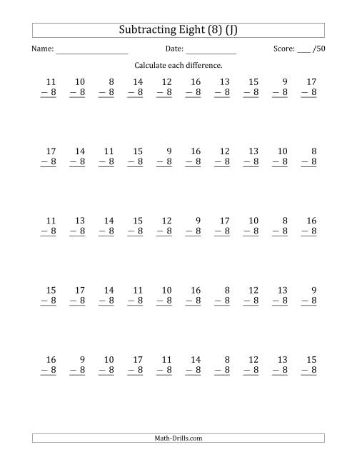 The Subtracting Eight (8) with Differences 0 to 9 (50 Questions) (J) Math Worksheet