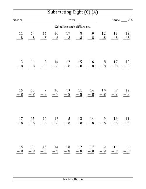 The Subtracting Eight (8) with Differences 0 to 9 (50 Questions) (All) Math Worksheet
