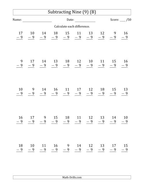 The Subtracting Nine (9) with Differences 0 to 9 (50 Questions) (B) Math Worksheet