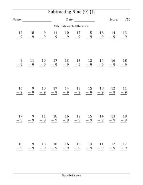 The Subtracting Nine (9) with Differences 0 to 9 (50 Questions) (J) Math Worksheet