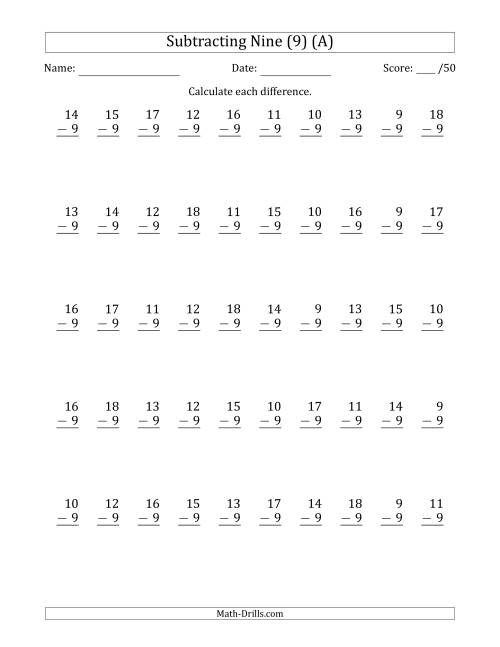 The Subtracting Nine (9) with Differences 0 to 9 (50 Questions) (All) Math Worksheet