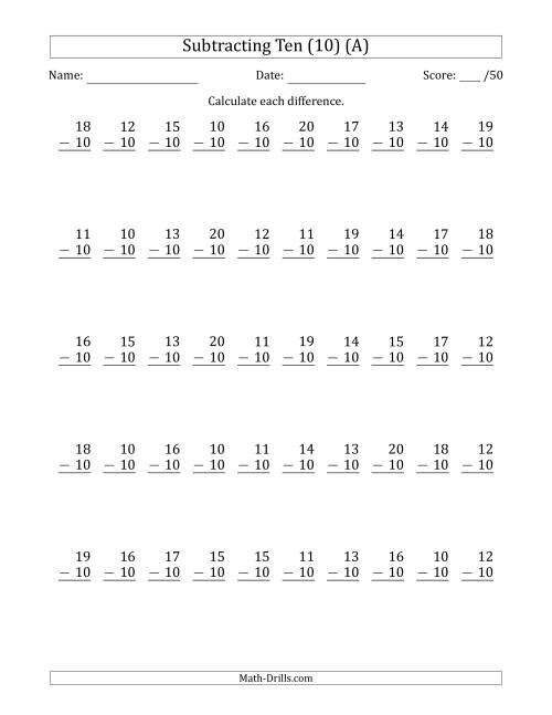 The Subtracting Ten (10) with Differences 0 to 10 (50 Questions) (A) Math Worksheet