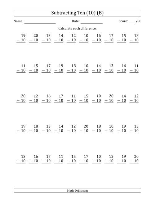 The Subtracting Ten (10) with Differences 0 to 10 (50 Questions) (B) Math Worksheet