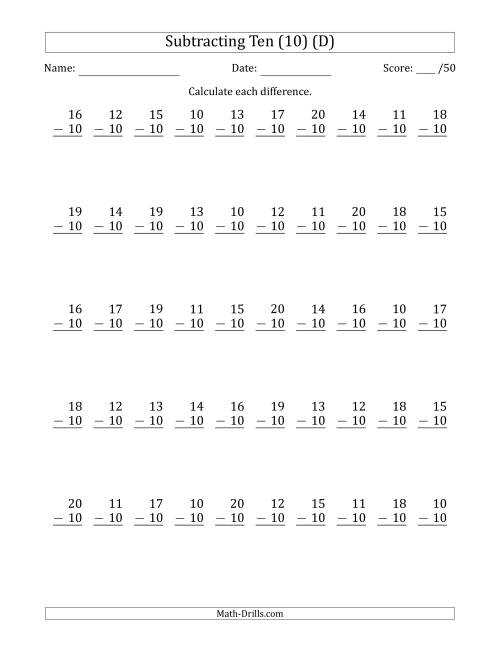 The Subtracting Ten (10) with Differences 0 to 10 (50 Questions) (D) Math Worksheet