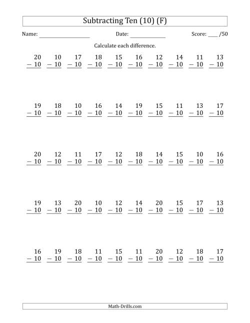 The Subtracting Ten (10) with Differences 0 to 10 (50 Questions) (F) Math Worksheet