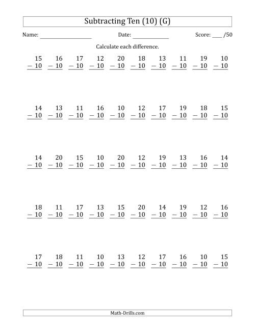 The Subtracting Ten (10) with Differences 0 to 10 (50 Questions) (G) Math Worksheet