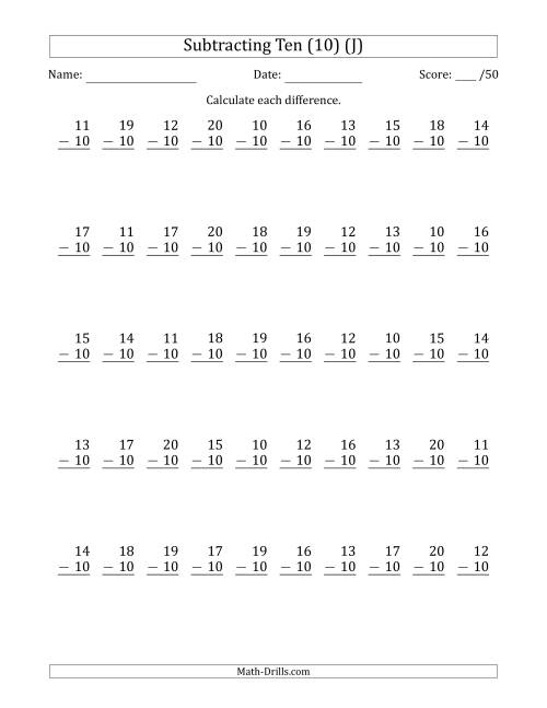 The Subtracting Ten (10) with Differences 0 to 10 (50 Questions) (J) Math Worksheet